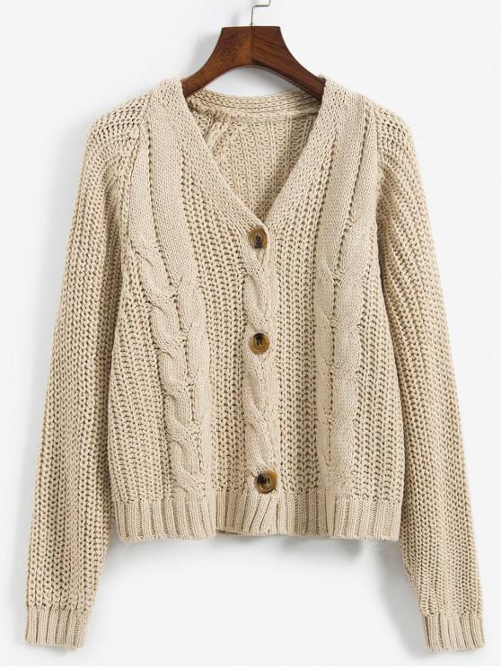 Cablu Chunky Knit Raglan Sleeve Cardigan - Lumina Khaki O marime
