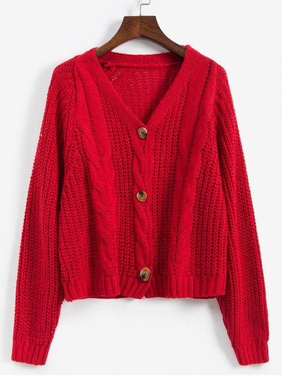 Cablu Chunky Knit Raglan Sleeve Cardigan - roșu O marime