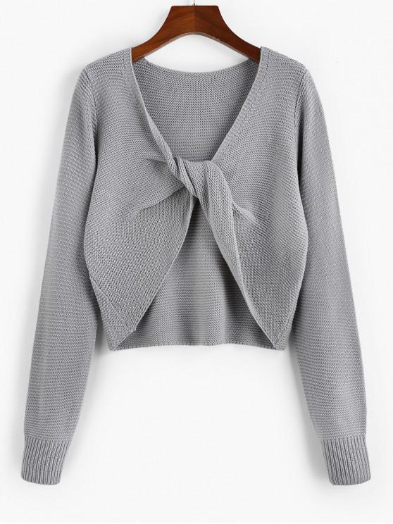 outfit ZAFUL Twisted Plunging Jumper Sweater - GRAY GOOSE M