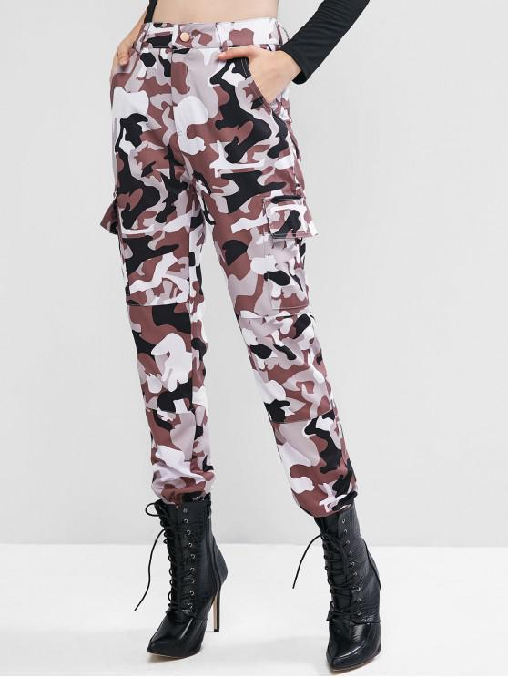 sale High Waisted Camouflage Flap Pockets Jogger Pants - MULTI-A M