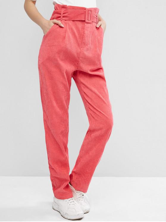 sale Belted Slant Pockets Corduroy Straight Pants - LIGHT CORAL M