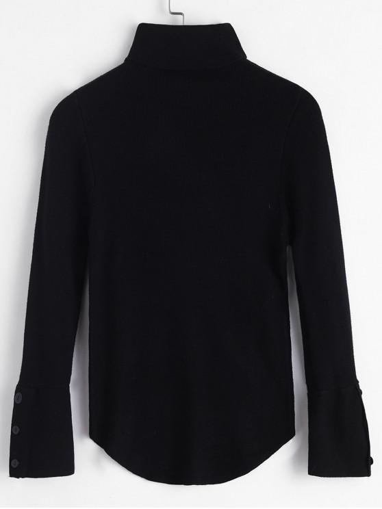 outfit Turtleneck Buttoned Cuff Slim Sweater - BLACK ONE SIZE