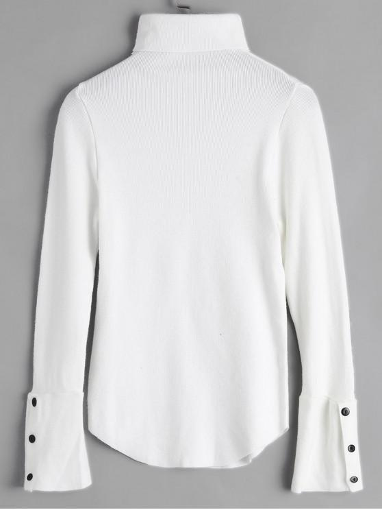 affordable Turtleneck Buttoned Cuff Slim Sweater - WHITE ONE SIZE