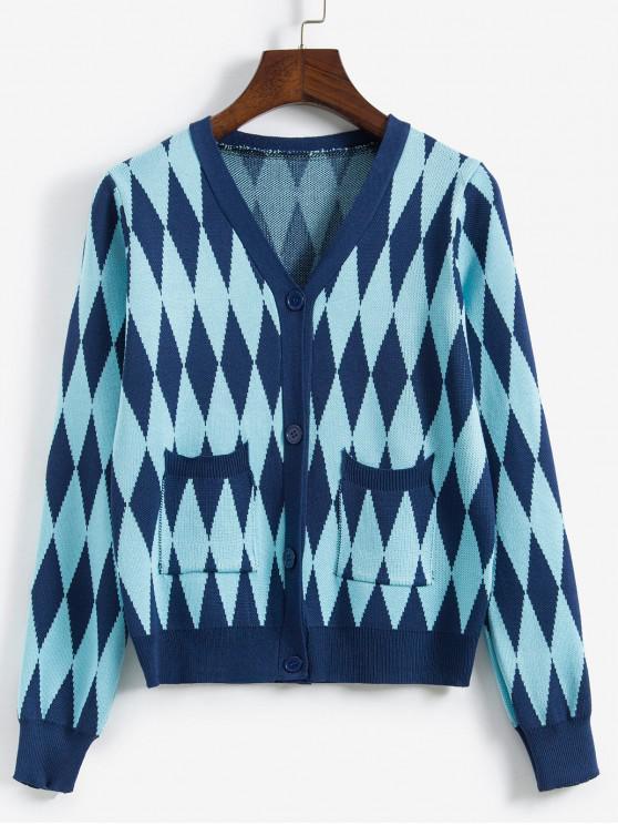 fancy Argyle Knit Button Front Pocket Cardigan - BLUE ONE SIZE