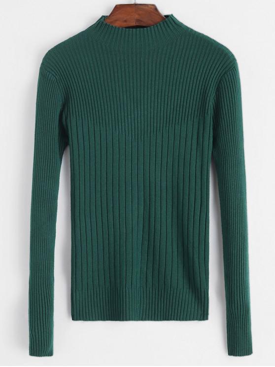 Gerippte Dünne Hohe Neck Pullover - Grün Eine Größe