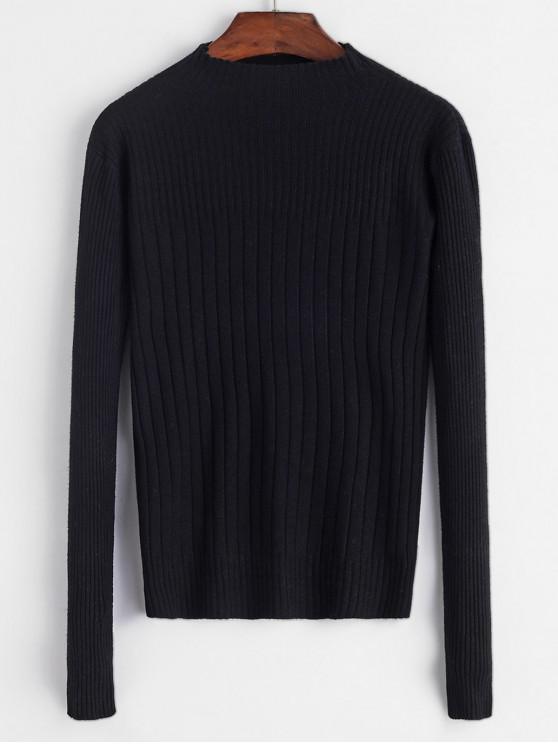 Pețiol subțire gât înalt pulover - Negru O marime