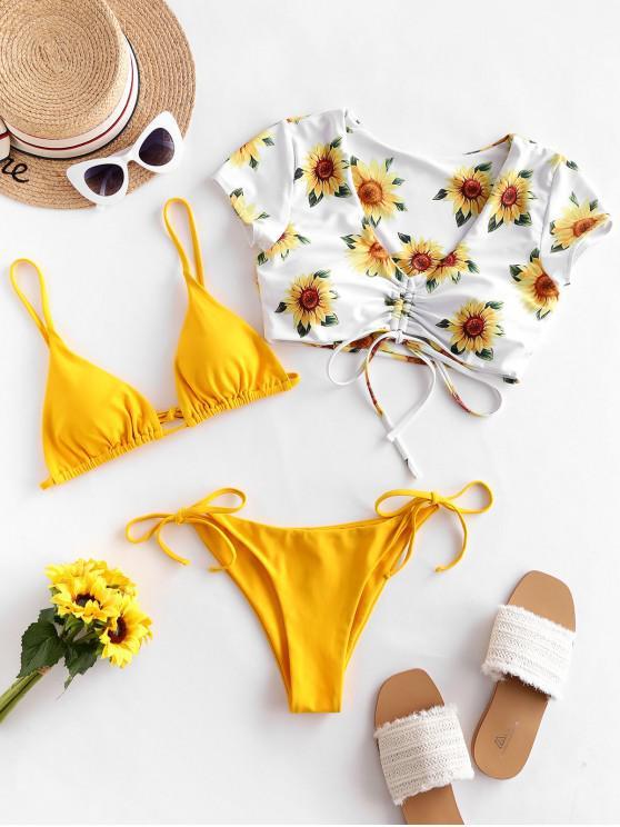 ZAFUL de floarea-soarelui Floral Tie cinched Trei Swimsuit piese - Muştar M