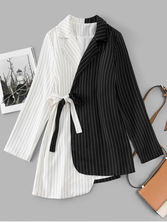 outfits Pinstriped Two Tone Tie Side Tuxedo Dress - MULTI-A M