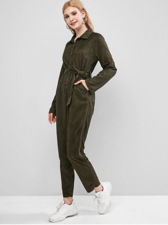 lady Button Placket Belted Pocket Maxi Jumpsuit - ARMY GREEN M