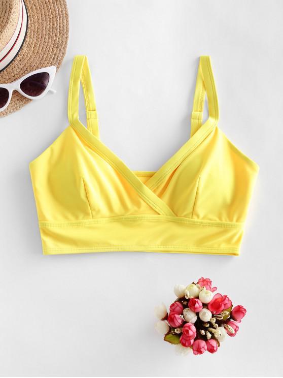 ZAFUL anteriu Plain căptușită Bikini Top - Galben S