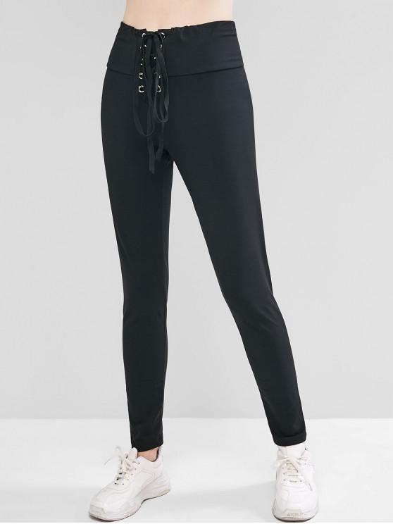 trendy Lace Up High Waist Leggings - BLACK M