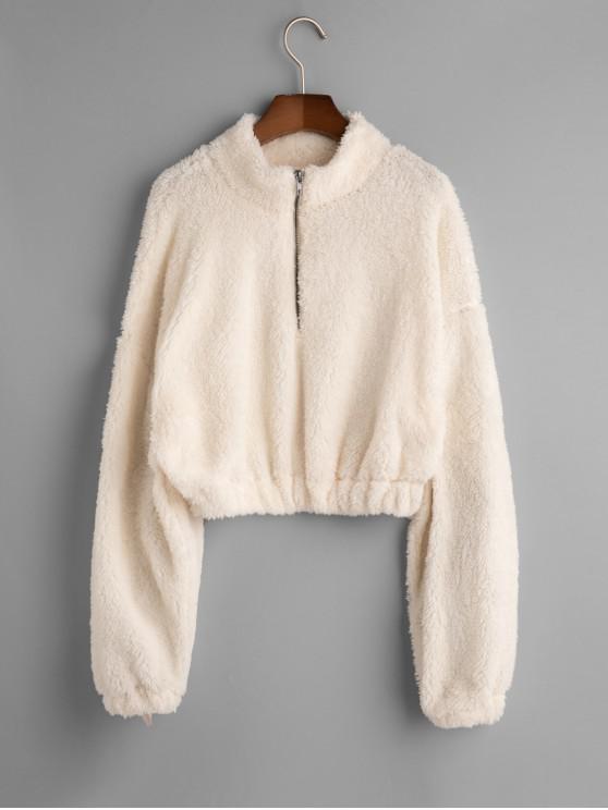 Sweat-shirt Fourré Lâche Goutte Epaule à Demi-Zip - Blanc M
