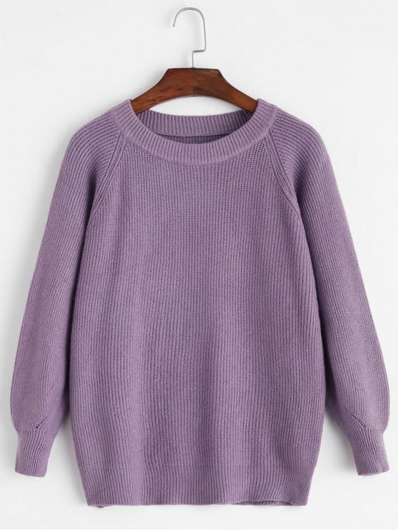 chic Raglan Sleeve Crew Neck Pointelle Knit Sweater - PURPLE ONE SIZE