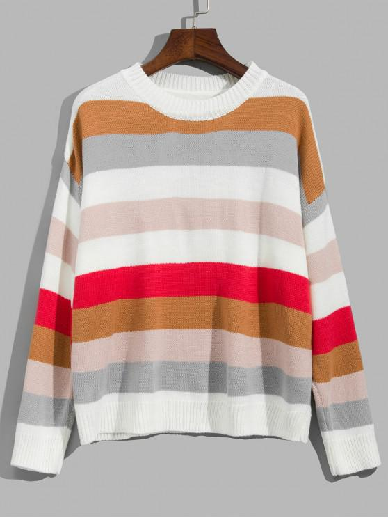 ladies Striped Drop Shoulder Contrast Sweater - MULTI-A ONE SIZE