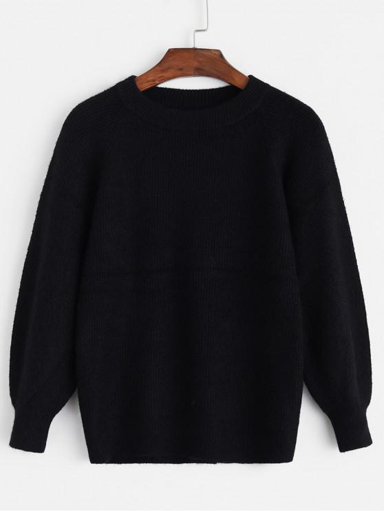 Raglan Sleeve Crew Neck Pointelle Knit Pulover - Negru O marime