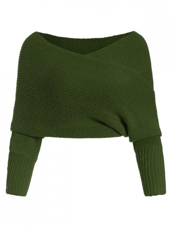 V Solid Neck Wrap Jumper suéter - Ejercito Verde Talla única