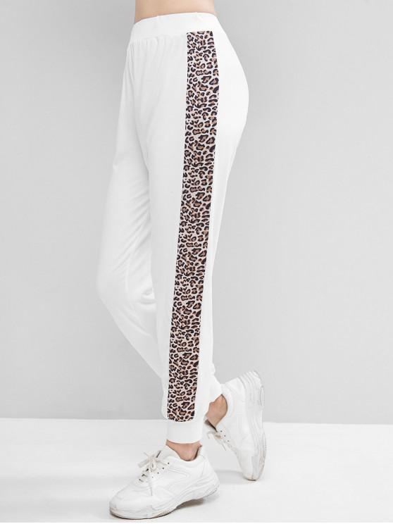 outfit Leopard Print High Waist Skinny Pants - WHITE S