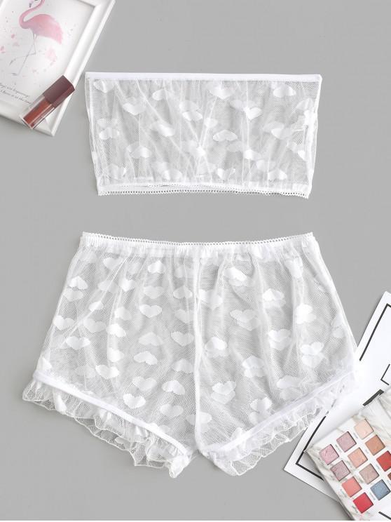 ladies Heart Sheer Mesh Ruffles Bandeau Lingerie Set - WHITE M