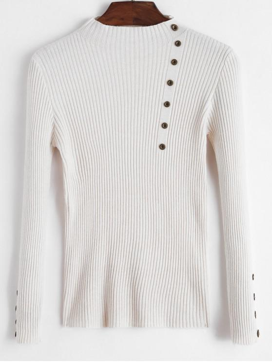 unique Mock Button Ribbed Slim Sweater - APRICOT ONE SIZE