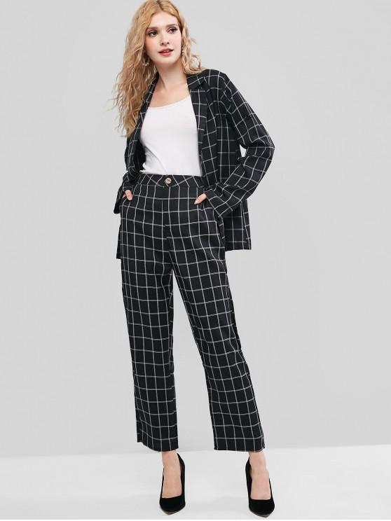 lady Grid Lapel Open Front Pants Set - BLACK L