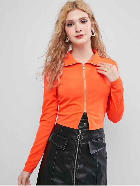 ZAFUL T-shirt Court Zippé en Couleur Unie - Orange S