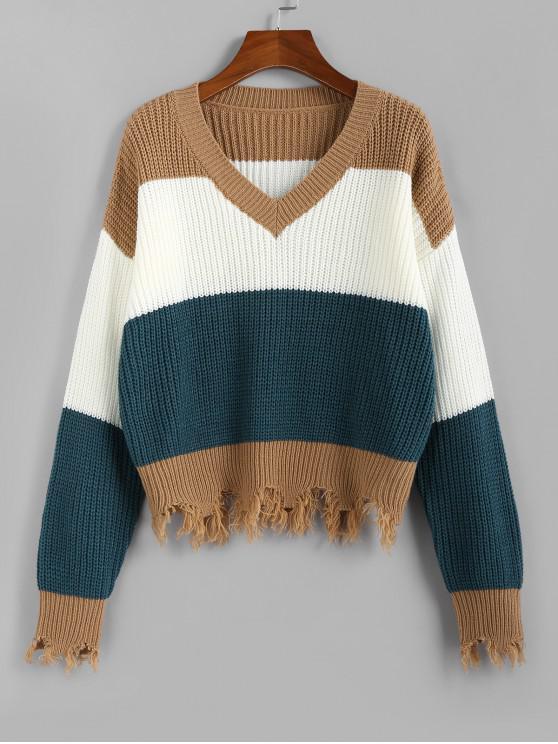 sale ZAFUL Colorblock Frayed Sweater - MULTI L