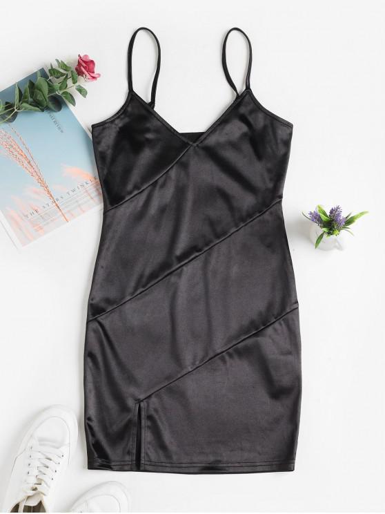 ZAFUL hendidura corto vestido de Cami del club - Negro L