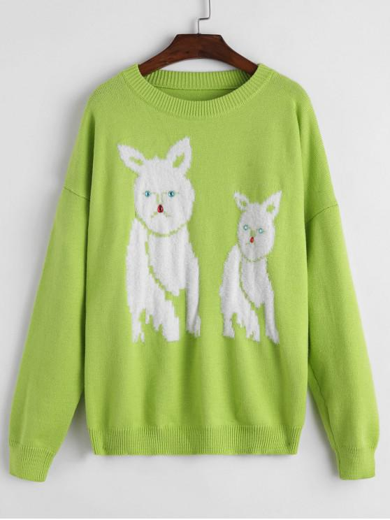 hot Rhinestone Dog Graphic Oversized Sweater - GREEN ONE SIZE