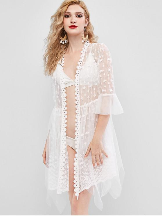 new Flare Sleeve Flower Lace Asymmetrical Cover Up - WHITE ONE SIZE