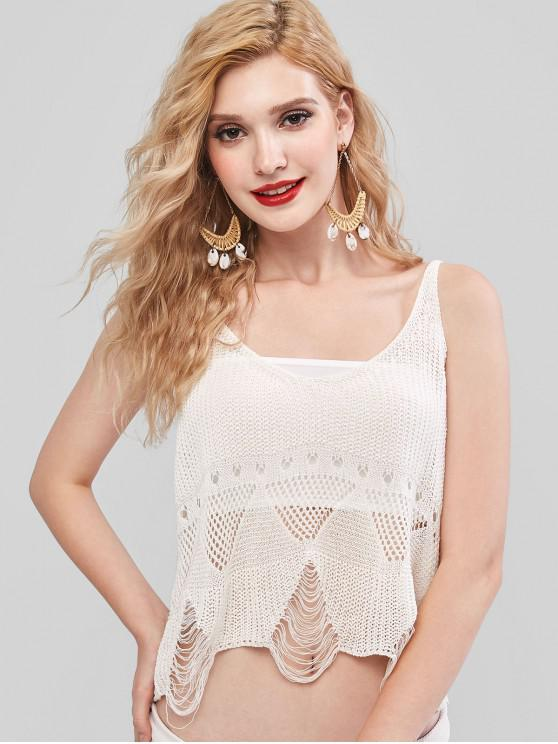best Openwork Ripped Beach Top with Tube Top - WHITE ONE SIZE