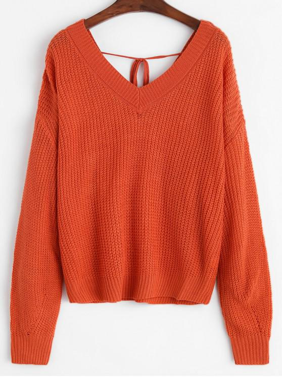 fancy Solid Tie Back V Neck Jumper Sweater - ORANGE L