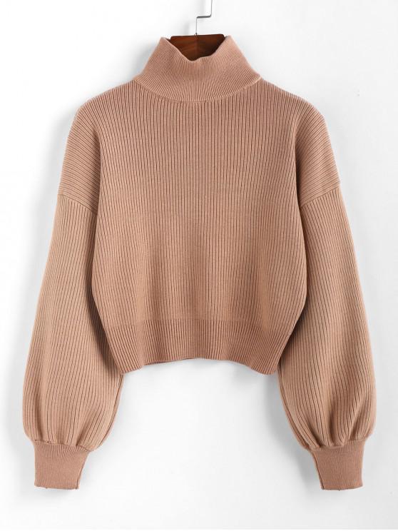womens ZAFUL High Neck Drop Shoulder Plain Sweater - LIGHT BROWN L