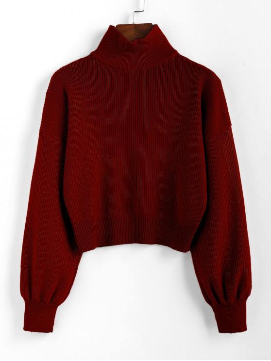 lady ZAFUL High Neck Drop Shoulder Plain Sweater - CHESTNUT L