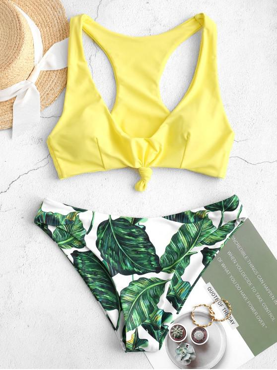 outfits ZAFUL Tropical Leaf Knotted Racerback Bikini Swimsuit - YELLOW L