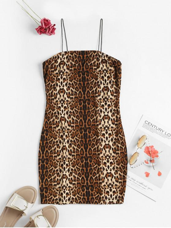 hot ZAFUL Leopard Cami Bodycon Dress - MULTI-C L