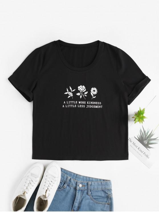 womens ZAFUL Floral Slogan Graphic Cuffed Sleeve Basic Tee - BLACK M