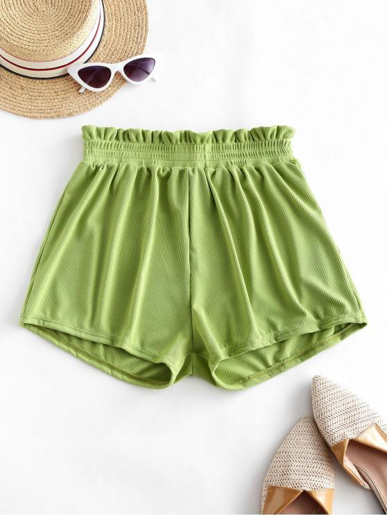 latest ZAFUL Frilled Ribbed Boyshort Bikini Bottom - GREEN APPLE M
