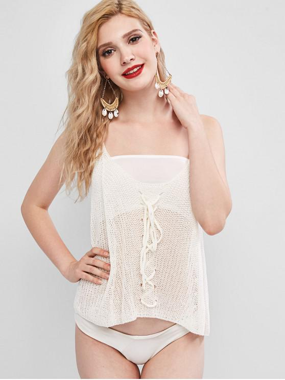 womens Criss Cross Openwork Tank Top with Tube Top - WHITE ONE SIZE