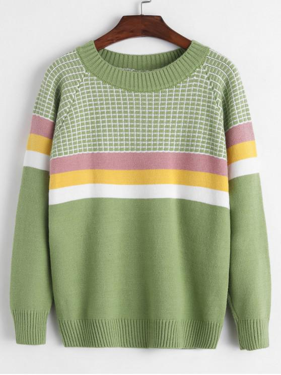 outfits Crew Neck Intarsia Knit Stripes Panel Jumper Sweater - GREEN ONE SIZE