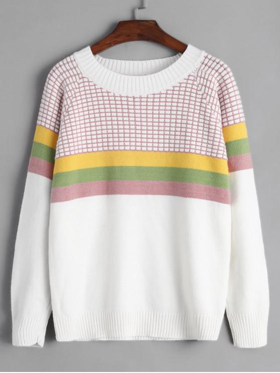 chic Crew Neck Intarsia Knit Stripes Panel Jumper Sweater - WHITE ONE SIZE