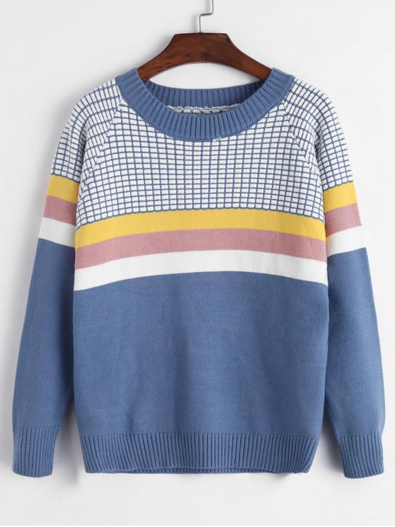 women Crew Neck Intarsia Knit Stripes Panel Jumper Sweater - BLUE ONE SIZE