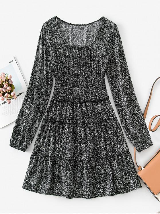 unique Shirred Waist Frilled Ditsy Print Dress - BLACK 2XL