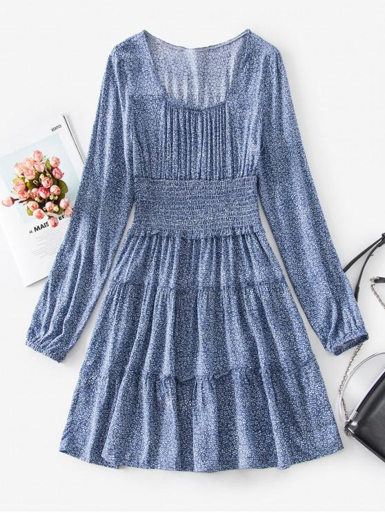 affordable Shirred Waist Frilled Ditsy Print Dress - BLUE GRAY M