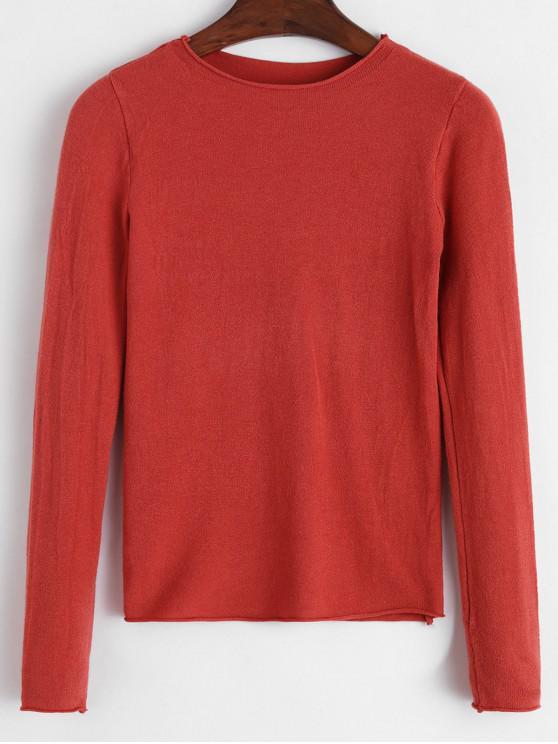 best Basic Raw Hem Sweater - TIGER ORANGE ONE SIZE