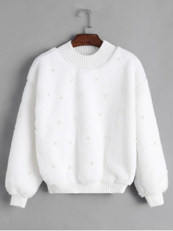 Sweat-shirt Perlé en Tricot à Ourlet en Fausse Fourrure - Blanc Taille Unique