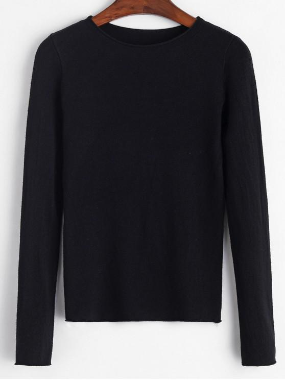 online Basic Raw Hem Sweater - BLACK ONE SIZE