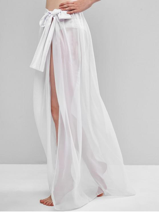 best Sheer Tie Maxi Wrap Skirt - WHITE ONE SIZE