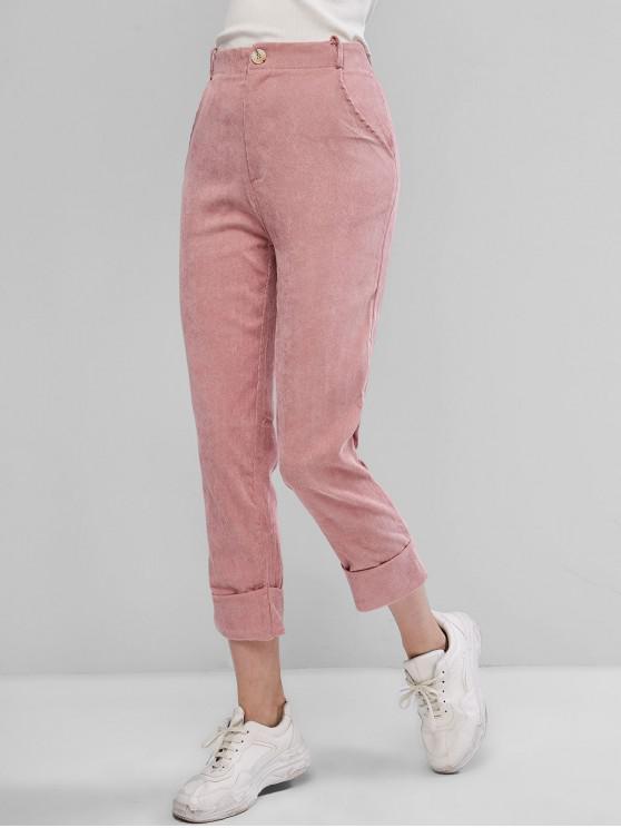 new Corduroy Cuffed Zipper Fly Pocket Pants - ROSE M