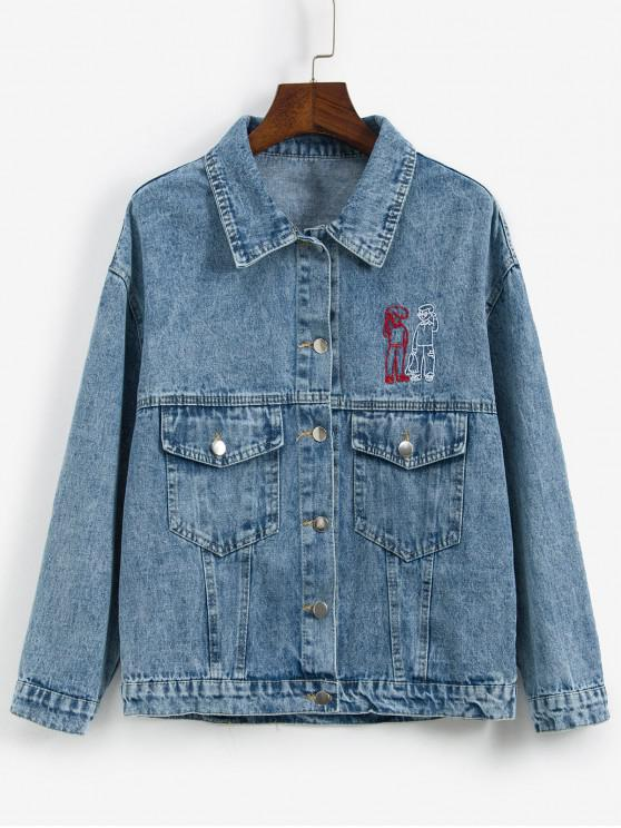 trendy Figure Embroidered Drop Shoulder Pocket Jean Jacket - BLUE ONE SIZE