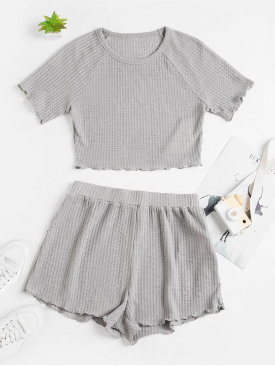 best ZAFUL Cropped Textured Lettuce Trim Two Piece Set - GRAY CLOUD S